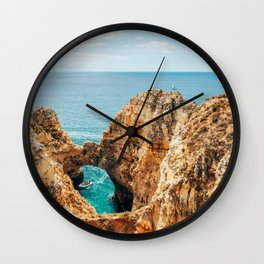 Ocean Landscape, Rocks And Cliffs, Lagos Bay Coast, Algarve Portugal,Wall Art, Poster Decor Wall Clock