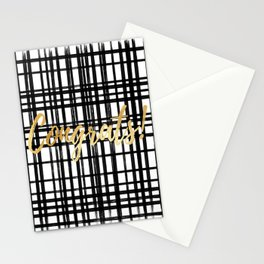 Black & White Grid - Congrats Stationery Cards