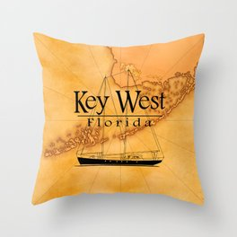 Key West Sailing And Nautical Map Throw Pillow
