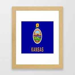 flag Kansas-america,usa,middlewest,Sunflower State, Kansan,Topeka,Wichita,Overland Park,Wheat State Framed Art Print
