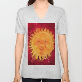 Digital painting of a chubby sun with a funny face Unisex V-Neck