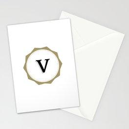 Vintage Letter V Monogram Stationery Cards