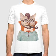 Eclectic Cat White SMALL Mens Fitted Tee