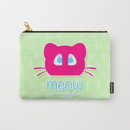 Pink cat head with blue eyes. Meow =) Carry-All Pouch
