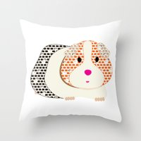 guinea pig Throw Pillows featuring Guinea Pig Patterned Guinea Pig by Upcyclepatch