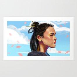 girl in the blue sky with sakura Art Print