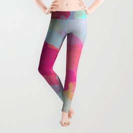 Colorful Abstract - pink and blue pattern Leggings