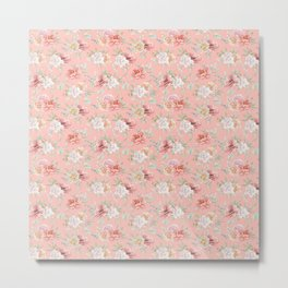 Coral pink green watercolor hand painted floral Metal Print