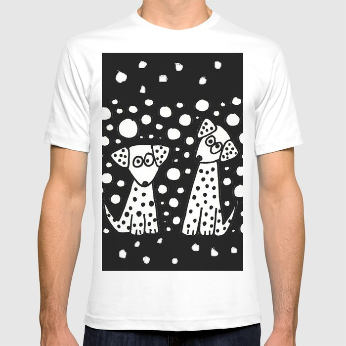 Funny Dalmatian Spotted Dogs Abstract Artwork T Shirt By Naturesmiles