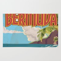 travel poster Area & Throw Rugs featuring BERMUDA vintage vacation travel poster by Nick's Emporium