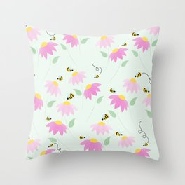 Pretty Flowers & Buzzing Bees Throw Pillow