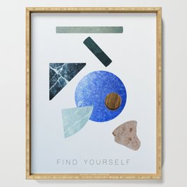 #FIND YOURSELF - abstract art print Serving Tray
