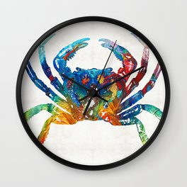 Colorful Crab Art by Sharon Cummings Wall Clock