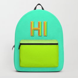 """""""HI"""" 3D Letters (Mint Minty Green, Orange and Lime Green) Backpack"""