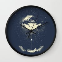 clouds Wall Clocks featuring MOON CLIMBING by los tomatos
