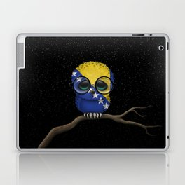 Baby Owl with Glasses and Bosnian Flag Laptop & iPad Skin