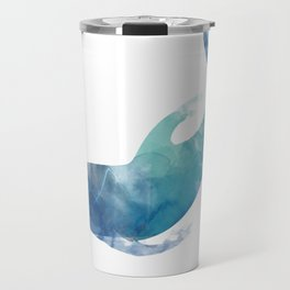 Watercolor playing Dolphin Travel Mug