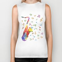 saxophone Biker Tanks featuring Saxophone by Miss L in Art