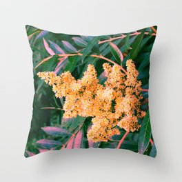 Green and Gold Sideways Sumac Throw Pillow