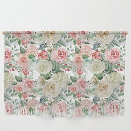 White and Pink Roses Pattern Wall Hanging