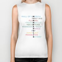minneapolis Biker Tanks featuring The Words of Minneapolis by tinyconglomerate