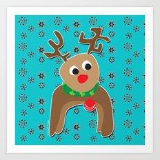 Santa's Reindeer Art Print