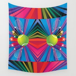 Tennis ball with rackets Wall Tapestry