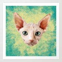 sphynx Art Prints featuring Sphynx by Cassidy Dawn
