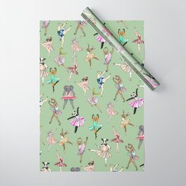 Animal Ballet Hipsters - Green Wrapping Paper