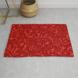 Pink and red swirly floral damask Rug