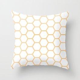 Geometric Honeycomb Pattern - Orange #271 Throw Pillow