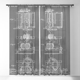 Cider Mill And Wine Press 1880 Patent Sheer Curtain