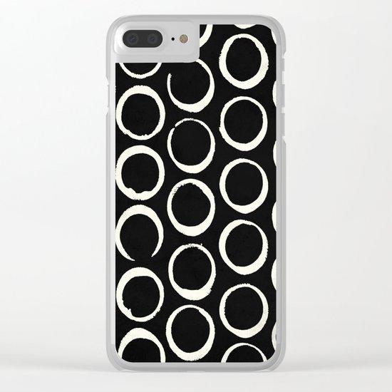 Polka Dots Circles Tribal Cream on Black Clear iPhone Case