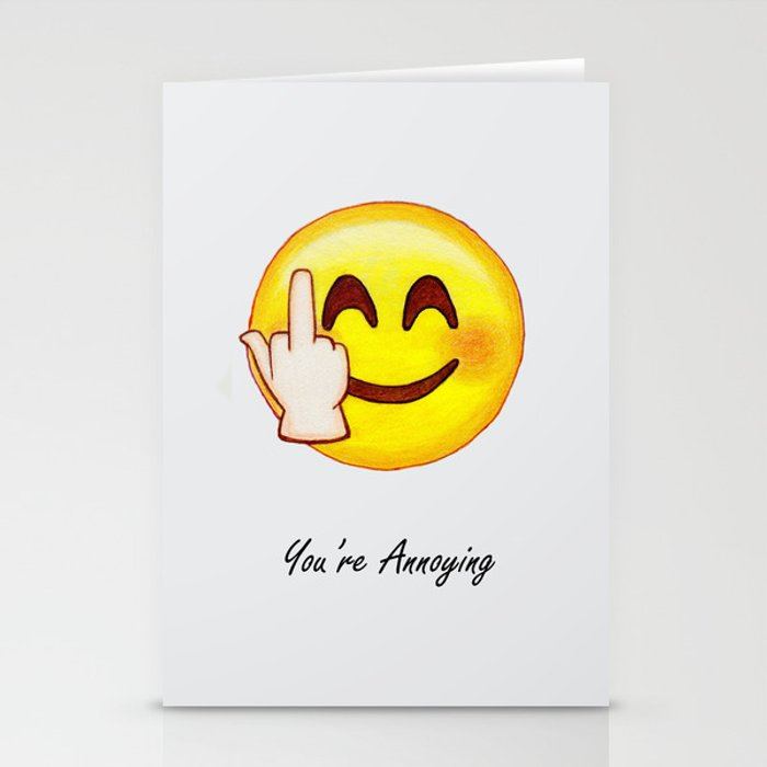 Middle Finger Emoji Stationery Cards By Ziamologist Society6
