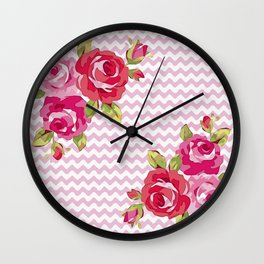Roses on geometric pattern Wall Clock