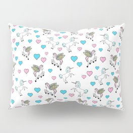 Unicorns and Pegasus and Hearts Pillow Sham