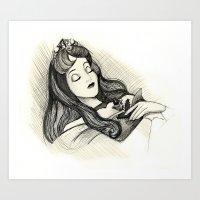 sleeping beauty Art Prints featuring Sleeping Beauty by Herself