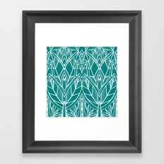 Turquoise Modern Leaves - blue white Framed Art Print