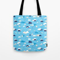 airplanes Tote Bags featuring Paper Airplanes by Polita
