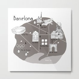 Mapping Barcelona - Grey Metal Print