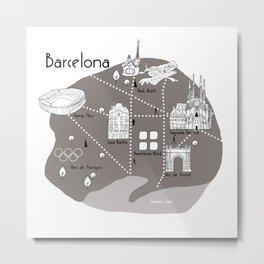 Mapping Barcelona - Grey Metal Print