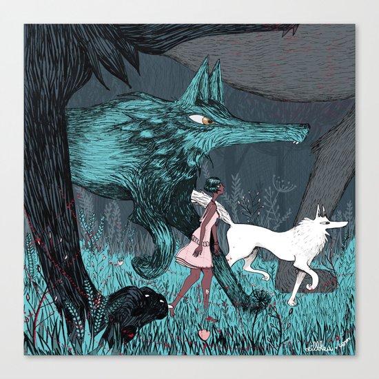 Woman Wolf wandering Canvas Print