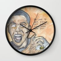 oitnb Wall Clocks featuring Poussey OITNB by Ashley Rowe