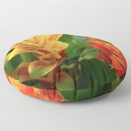 Exotic Red and Yellow Tropical Hawaiian Flowers Floor Pillow