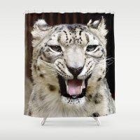 snow leopard Shower Curtains featuring Snow Leopard by MehrFarbeimLeben