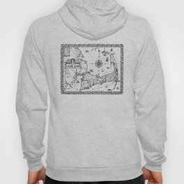 Vintage Map of Cape Cod BW Hoody