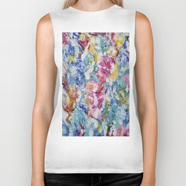 Abstract floral painting Biker Tank