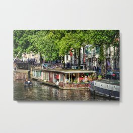 Amsterdam Houseboat on Canal Metal Print
