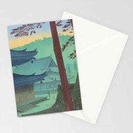 Asano Takeji Japanese Woodblock Print Vintage Mid Century Art Teal Turquoise Sunrise Shrine Stationery Cards