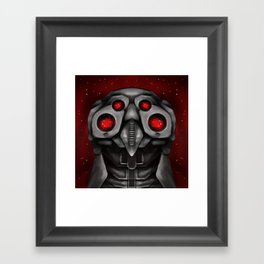 Red Space Owl Framed Art Print